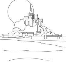 Dibujo para colorear MONT SAINT MICHEL - Dibujos para Colorear y Pintar - Dibujos para colorear los PAISES - FRANCIA para colorear - Dibujos para colorear MONUMENTOS FRANCIA