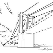 Dibujo para colorear PUENTE DE BROOKLYN - Dibujos para Colorear y Pintar - Dibujos para colorear los PAISES - los ESTADOS UNIDOS para colorear - NUEVA YORK para colorear