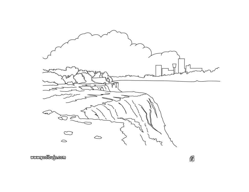 Dibujos para colorear cataratas de niagara - es.hellokids.com