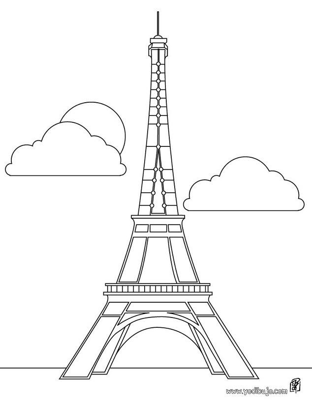 Dibujos para colorear torre eiffel  eshellokidscom