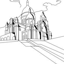 Dibujo para colorear MONTMARTRE - Dibujos para Colorear y Pintar - Dibujos para colorear los PAISES - FRANCIA para colorear - Dibujos para colorear MONUMENTOS PARIS