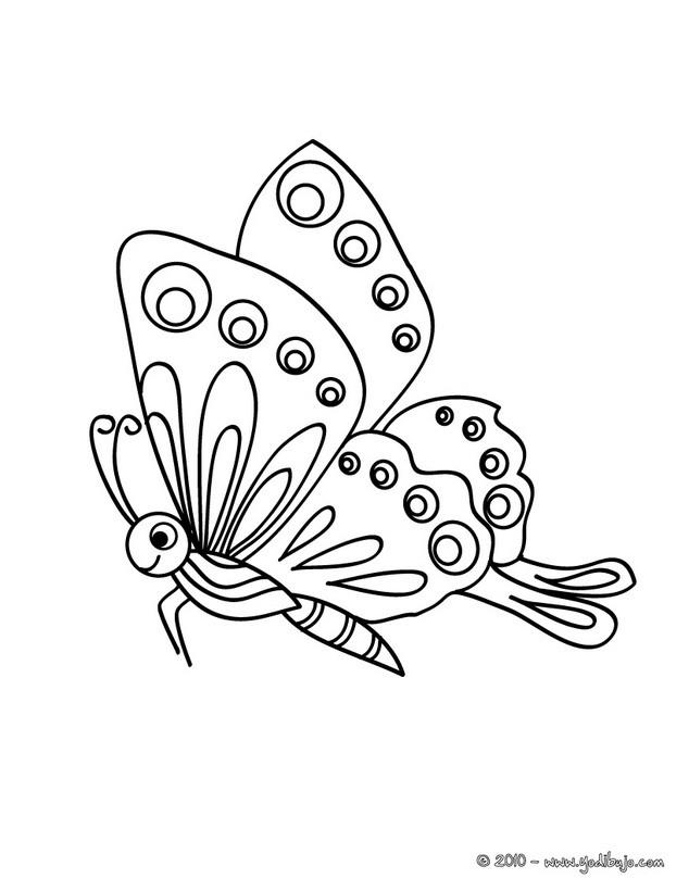 Dibujos para colorear mariposas moradas en un árbol - es.hellokids.com