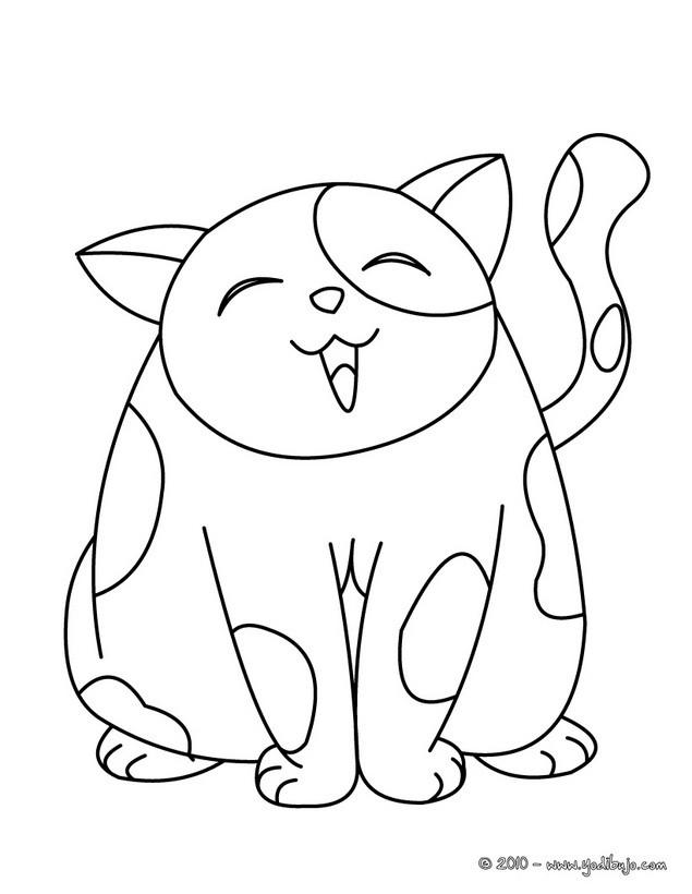 Dibujo para colorear : gato feliz