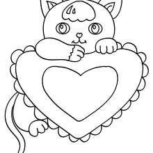 Dibujo para pintar un gato enamorado - Dibujos para Colorear y Pintar - Dibujos para colorear ANIMALES - Dibujos GATOS para colorear - Dibujos para colorear e imprimir GATOS