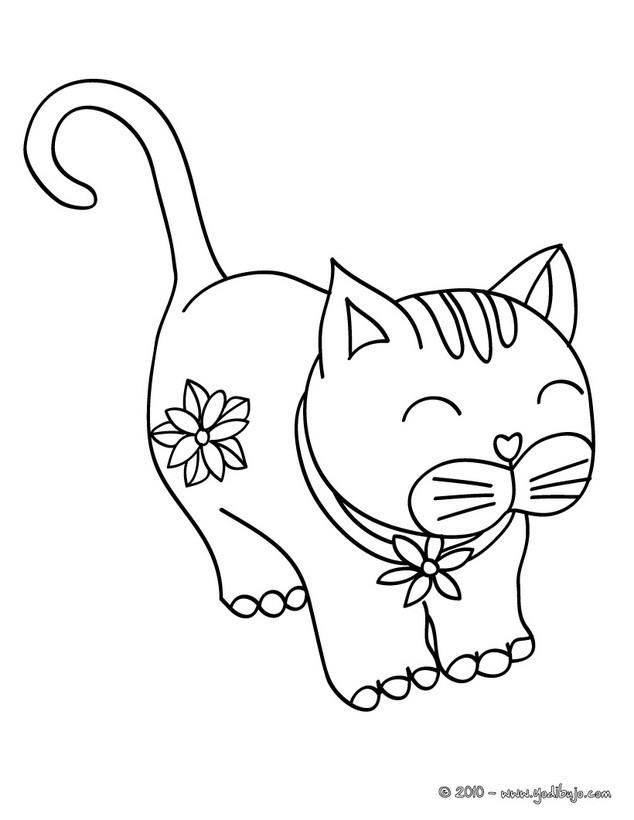 Dibujos para colorear gatito bonito - es.hellokids.com