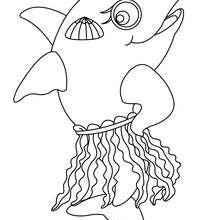 Dibujo para colorear : un delfin con concha