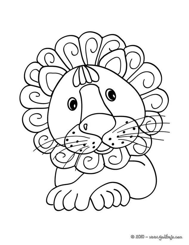 Dibujos para colorear león para preescolares - es.hellokids.com