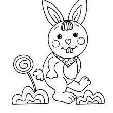 Dibujo para colorear gazapo saltando - Dibujos para Colorear y Pintar - Dibujos para colorear ANIMALES - Dibujos ANIMALES DE GRANJA para colorear - Colorear CONEJOS - Colorear GAZAPOS