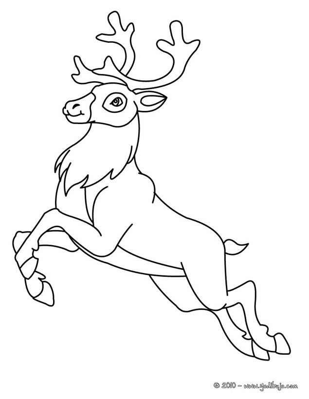 Dibujos para colorear un ciervo saltando - es.hellokids.com