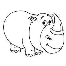 Dibujo para colorear rinoceronte bebe - Dibujos para Colorear y Pintar - Dibujos para colorear ANIMALES - Dibujos ANIMALES SALVAJES para colorear - Dibujos ANIMALES DE LA SABANA para colorear - Colorear RINOCERONTE