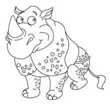 Dibujo para pintar RINOCERONTE - Dibujos para Colorear y Pintar - Dibujos para colorear ANIMALES - Dibujos ANIMALES SALVAJES para colorear - Dibujos ANIMALES DE LA SABANA para colorear - Colorear RINOCERONTE
