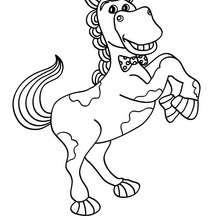 Dibujo CABALLO en sus patas de atrás - Dibujos para Colorear y Pintar - Dibujos para colorear ANIMALES - Colorear CABALLOS - Dibujos de CABALLOS para colorear e imprimir