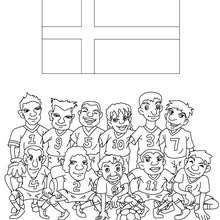 Dibujo del EQUIPO DINAMARCA - Dibujos para Colorear y Pintar - Dibujos para colorear DEPORTES - Dibujos de FÚTBOL para colorear - EQUIPOS DE FUTBOL para colorear