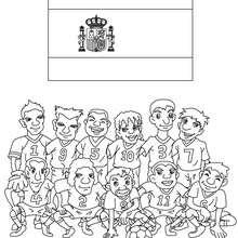 Dibujo del EQUIPO ESPAÑA - Dibujos para Colorear y Pintar - Dibujos para colorear DEPORTES - Dibujos de FÚTBOL para colorear - EQUIPOS DE FUTBOL para colorear
