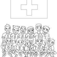 Dibujo del EQUIPO SUIZA - Dibujos para Colorear y Pintar - Dibujos para colorear DEPORTES - Dibujos de FÚTBOL para colorear - EQUIPOS DE FUTBOL para colorear