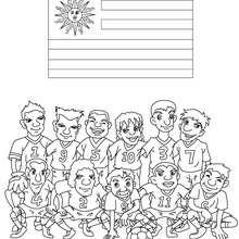 Dibujo del EQUIPO URUGUAY - Dibujos para Colorear y Pintar - Dibujos para colorear DEPORTES - Dibujos de FÚTBOL para colorear - EQUIPOS DE FUTBOL para colorear