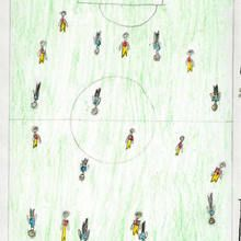 Partido de futbol (Ainara Martinez, 7 años) - Dibujar Dibujos - Dibujos de NIÑOS - Dibujos de DEPORTES - Dibujos de los juegos olimpicos del CEIP Alvaro Cunqueiro - Mondoleño