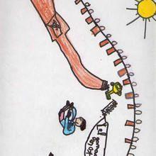 Ilustración infantil : 100 metros (Cesar Rama, 7 años)
