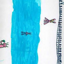 Ilustración infantil : Natación (David Muiño, 8 años)
