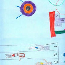 Carrera de natacion (Xiana Rodriguez, 10 años) - Dibujar Dibujos - Dibujos de NIÑOS - Dibujos de DEPORTES - Dibujos de los juegos olimpicos del CEIP Alvaro Cunqueiro - Mondoleño