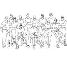 Dibujo para colorear : un equipo de baloncesto con su entrenador