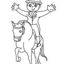 Dibujo de adiestramiento de un poni por un jinete - Dibujos para Colorear y Pintar - Dibujos para colorear DEPORTES - Dibujos de EQUITACION para colorear - Dibujos de DOMA para colorear