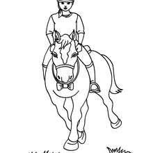 Dibujo de adiestramiento de un poni por una jinete - Dibujos para Colorear y Pintar - Dibujos para colorear DEPORTES - Dibujos de EQUITACION para colorear - Dibujos de DOMA para colorear
