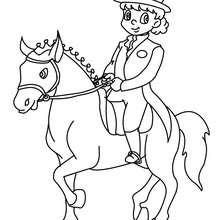 Dibujo para colorear : una jinete que adiestra un poni