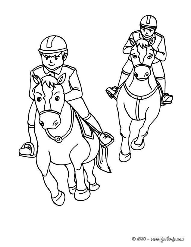 Dibujos para colorear una carrera de caballos al galope  es