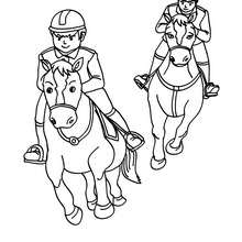 Dibujo de una carrera de caballos al galope - Dibujos para Colorear y Pintar - Dibujos para colorear DEPORTES - Dibujos de EQUITACION para colorear - Dibujos de CARRERAS DE CABALLOS para colorear