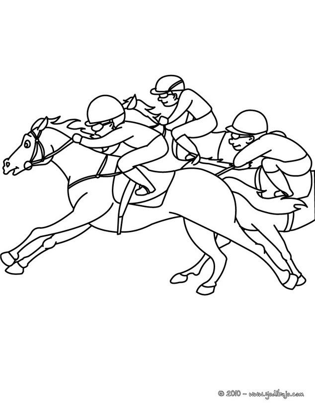Dibujos para colorear caballos al galope durante una carrera  es