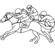 Dibujo de caballos al galope durante una carrera - Dibujos para Colorear y Pintar - Dibujos para colorear DEPORTES - Dibujos de EQUITACION para colorear - Dibujos de CARRERAS DE CABALLOS para colorear