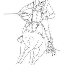 Dibujo para colorear : jinete con su caballo al galope