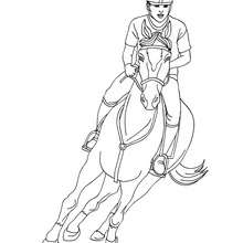 Dibujo para colorear : un caballo al galope con un jinete