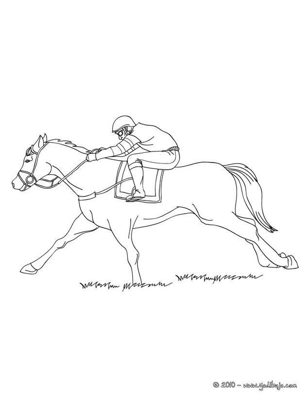 Dibujos para colorear una jinete a caballo (galope) - es.hellokids.com
