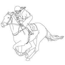 Dibujo para colorear : una jinete a caballo (galope)