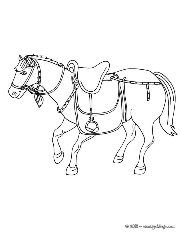 Dibujos para colorear un caballo con su silla es for Silla para dibujar