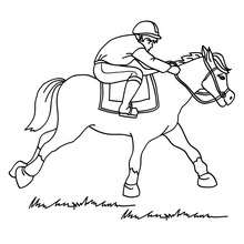 Dibujo para colorear : un poni al galope con su jinete