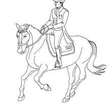 Dibujo para colorear : un jinete a caballo (trote)