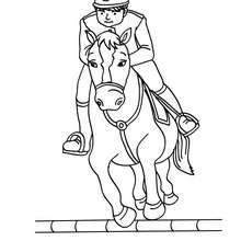 Dibujo de un salto de obstaculos a caballo - Dibujos para Colorear y Pintar - Dibujos para colorear DEPORTES - Dibujos de EQUITACION para colorear - Colorear SALTO DE OBSTACULOS