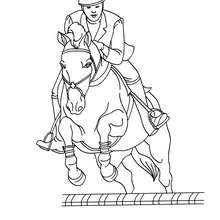 Dibujo para colorear : un caballo saltando un obstaculo