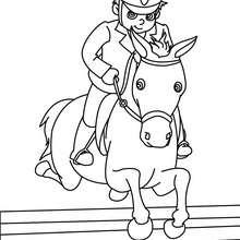 Dibujo para colorear : un poni saltando un obstaculo