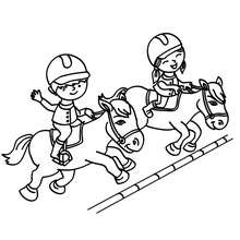 Dibujo para colorear : ponis saltando obstaculos