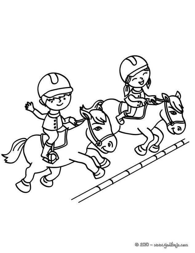 Dibujos para colorear una jinete a caballo saltando un obstaculo ...
