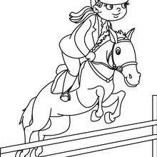 Dibujo para colorear : una jinete a caballo saltando un obstaculo