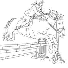 Dibujo para colorear : una jinete a caballo durante un recorrido de obstaculos