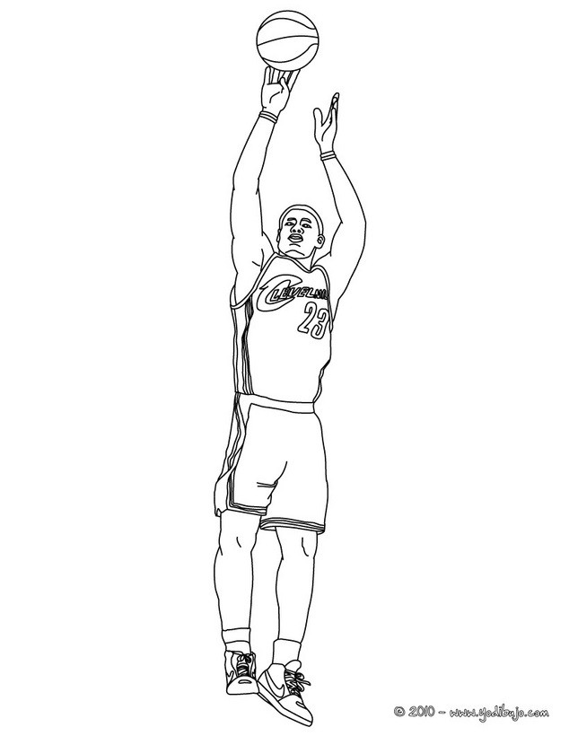 Dibujo para colorear : Lebron James disparando