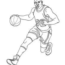 Dibujo para colorear : Magic Johnson regateando