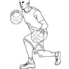 Dibujo para colorear : un jugador que regatea con 2 pelotas