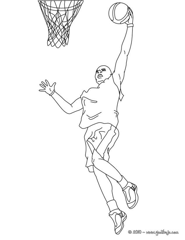 Dibujos Para Colorear Un Mate De Un Jugador De Baloncesto